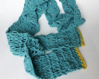 Soft Knitted Long Skinny Scarf In Turquoise