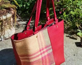 Red Leather Handbag. Red Leather Tote. Red Leather Day Bag. Handmade Red Leather Bag. Leather and tartan tweed Handbag. The Elizabeth.