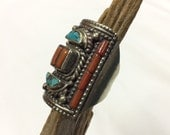 Intricate Turquoise & Coral Silver Rectangle Shaped Moroccan Multistone Statement Ring | Size 10.5 | Hand Crafted Berber Jewelry