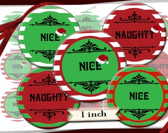 Christmas  NAUGHTY OR NICE bottle cap image  15 - 1 in circles  - 600dpi, Collage Sheet, cupcake toppers, Gift Tags, BottleCaps