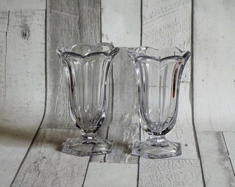 Pair Vintage Chippendale Krys-Tol Glass Flower Vases