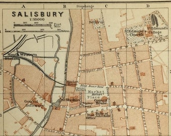 Vintage map of Salisbury, UK (genuine 1901 antique) with option to handcut with custom words