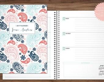 2017 2018 planner custom planner student planner HORIZONTAL LAYOUT weekly monthly calendar agenda daytimer / navy blue pink paisley pattern