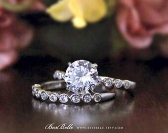 2.62 ct.tw Bridal Set Ring-Brilliant Cut Diamond Simulants-Engagement Ring-Eternity Band Ring-Wedding Band Ring-Sterling Silver [3413-2]