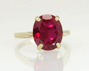 Designer Estate 10K Yellow Gold 5.20ct Garnet Gemstone Ring 3.5g