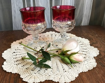 Vintage 1920s Set of 2 Tiffin Ruby Flash Cordial Glasses, King's Crown