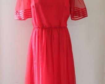 Vintage Valentine Dress Red Sheer Lined Size Large L