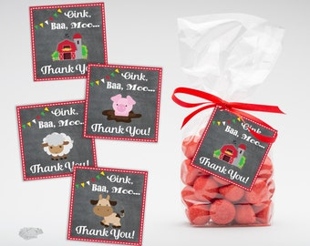 Barnyard Birthday Favor Tags, Printable Thank you Tags, Farm Birthday Party Favor Labels, Party Supplies, Instant Download