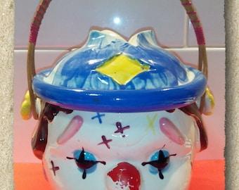 Vintage Ceramic Clown Hobo Cookie Jar, Biscuit Barrel with cane handle, Made In Japan