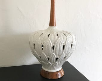 Lamp, vintage, table lamp, mid century, lotus, ceramic and wood, lighting, home decor