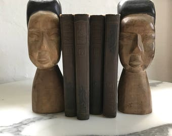 Book Ends, vintage, hand carved, solid wood, Asian men bookends, mid century, bookcase decor