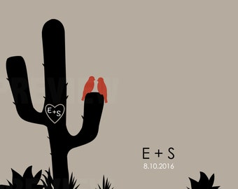 "Desert cactus personalized digital print - ""CACTUS WEDDING"" with initials and wedding date with cactus, succulent designs for gifts,"