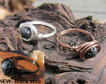 Aromatherapy Ring, Lava Rock Stone, Basalt, Diffuser Jewelry, Wire Wrapped Ring, Essential Oil, Sterling, Silver, Copper, Gifts for Her.