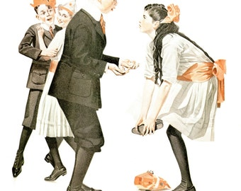 Pardon Me! Post Cover painted by Norman Rockwell in 1918. The page is approx. 11 1/2 inches wide and 15 inches tall.