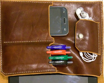 Leather Organizer, Leather Portfolio, Etui, Case for Tablet, Business Portfolio, Hand Made Organizer