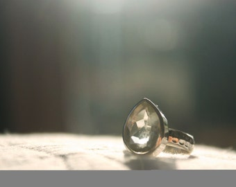 Teardrop Prasiolite Ring set in Sterling Silver with Beaten Silver Band
