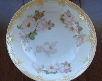 Antique PK Silesia Porcelain - Hand Painted Serving Bowl - Pink Roses