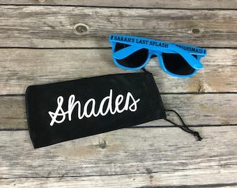 10 Personalized Sunglasses Pouches, Black Drawstring Bags, Custom Bachelorette Party Favor, Bachelor Party Gift, Destination Wedding Favor