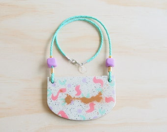Resin Necklace | Wearable Art | Handmade | 80's Pastel Hand Painted
