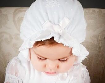 Melissa Christening Bonnet, White Lace Cotton Baptism Bonnet