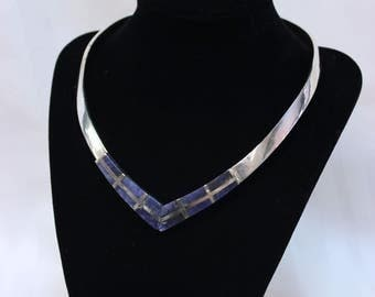 Sodalite Sterling Silver Collar Necklace 102g - SS10100