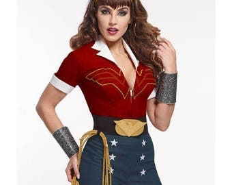 Simplicity 8196, Wonder Woman, DC Comics Bomshell Pattern, Wonder Woman Costume, Cosplay, Comic Con, Fantasy, Halloween, Misses 6-14, UN-CUT