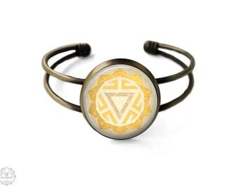 Solar Plexus Chakra Manipura Cuff Bracelet   Solar Plexus Chakra Bracelet, Manipura Chakra, Bangle, Chakra Jewelry, Boho Jewelry, Yellow