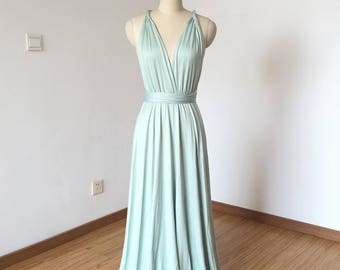 Slate Spandex Long Convertible Bridesmaid Dress