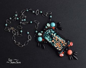 "Bead embroidery necklace ""Mystic"" Beadwork necklace Necklace on chain Beaded Necklace Collier Necklace with Swarovski crystals Black Orange"