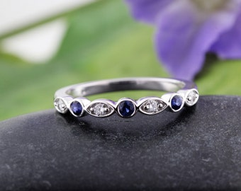 14k White Gold Vintage Round Sapphires and Marquise Shape Round Diamond Band, Round Diamonds & Sapphire Swing Band,Wedding Band