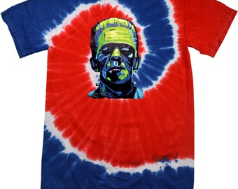 Men's Frankenstein Face Patriotic Tie Dye Tee T-Shirt 20719NBT2-1000P
