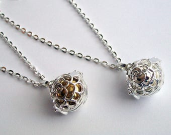 Angel Caller Necklace ~ Pregnancy Necklace ~ Harmony Bell ~ Baby Shower Gift ~ Mexican Bola Necklace ~ Chime Ball ~ Silver/Gold