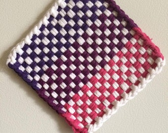Small purple, plum and pink woven cotton potholder