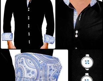Black with blue and white paisley Moisture Wicking Dress Shirt - Made in USA