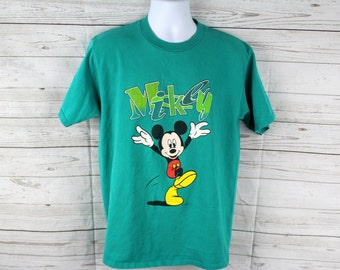 80s Mickey Mouse Vintage T-Shirt by Velva Sheen - Adult Large - Dinseyworld - Walt Disney - Mickey annd Minnie Mouse - Rare