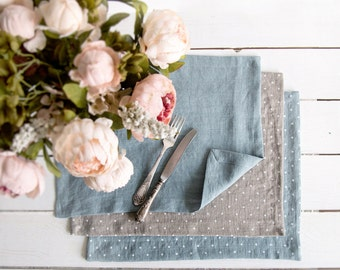 Linen Placemats set of 6 made of natural flax and softened - Colorful placemats