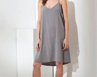 Halter dress - Open back dress - Backless dress - Gray spaghetti strap dress - summer dress - Gray dress - V neck dress - Claudette dress
