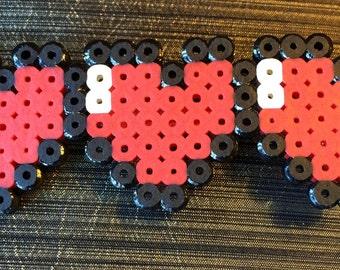 Red Heart Pin,Heart Brooch,Heart Pin,3 Heart Jewelry,3 Heart Pin,Plastic Heart Pin,Love Pin,Threesome,Pop Art Pin,Lego Pin,Modern Heart Pin
