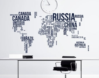 Large World Map Wall Decal  Letters World Map With Countries Wall Decal  Travel Stickers Living
