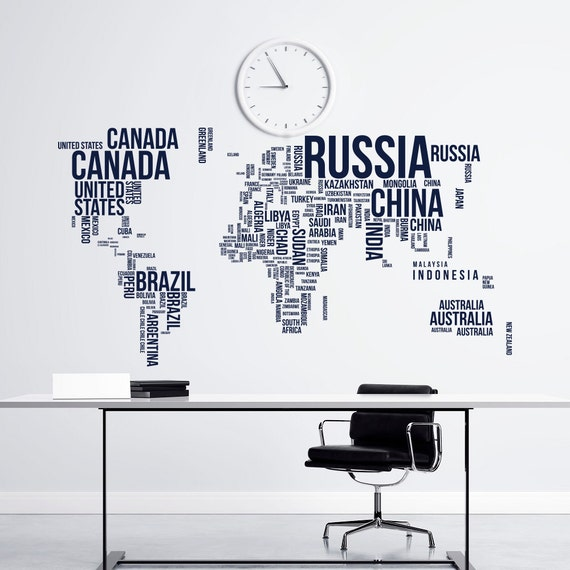 large world map wall decal letters world map with countries. Black Bedroom Furniture Sets. Home Design Ideas