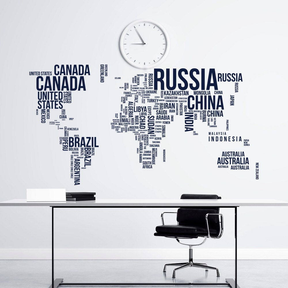large world map wall decal letters world map with by. Black Bedroom Furniture Sets. Home Design Ideas