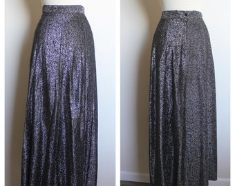 Vintage SEARS Amazing Long Shiny Zip Up Maxi Skirt