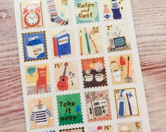 Gold Embossed Stamp Stickers - Home