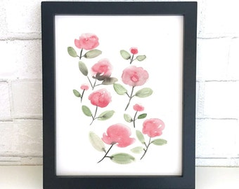 Pink Flowers Watercolor, Original Watercolor, Watercolor Bouquet, Watercolor Flowers, Floral Wall Art, Floral Painting, Floral Decor