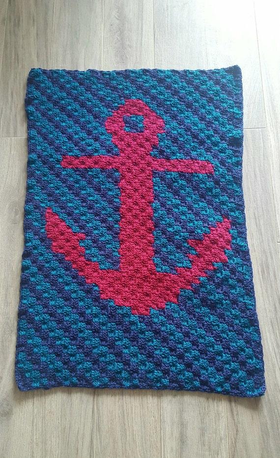 Nautical Anchor Baby Blanket; crochet baby blanket; corner ...