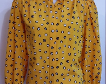 Goldenrod blouse, L, yellow blouse, polka dot blouse, 80s blouse, 80s top, contemporary top, streetstyle top, yellow top