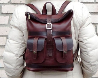 """Burgundy leather backpack """"May"""""""