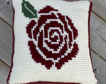 Rose Crochet Throw Pillow - Handmade