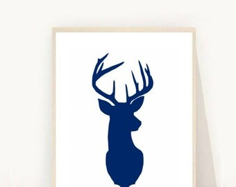 Deer Head Print, Navy Deer Print, Printable Art, Deer Wall Art, Deer print, Blue Deer head,  instant Download, Navy Stag print