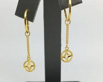 24K Solid Gold Dangling Earrings